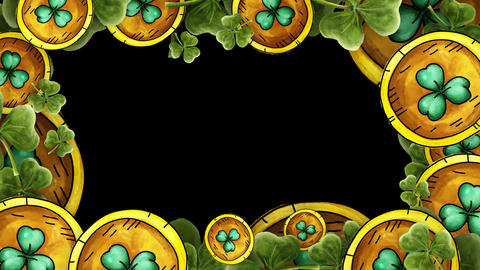 Gold Coins and green clovers Frame with alpha - St. Patricks Animation