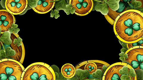 Gold Coins and green clovers Frame with alpha - St. Patricks Stock Video Footage