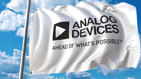 Waving flag with Analog Devices logo. 4K editorial animation Footage