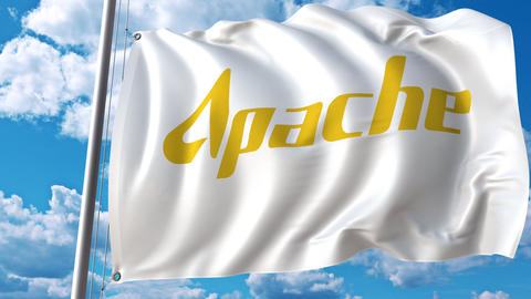 Waving flag with Apache Corporation logo. 4K editorial animation Live Action