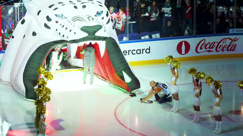 hockey players go to field through decorative snow leopard ビデオ