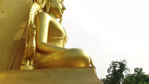 Buddhist Golden Statue Footage