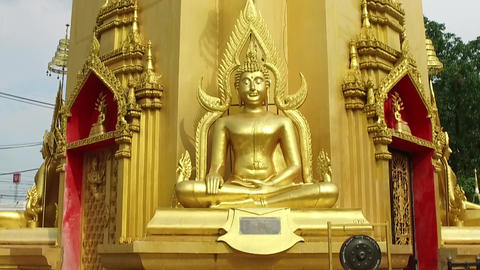 Chedi Stupa Buddhist Temple in Thailand Live Action
