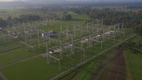 Aerial - Electric power substation in a countryside Footage