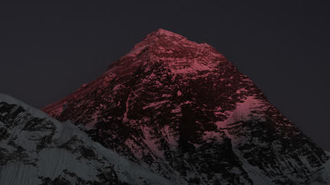 Time-lapse of Mount Everest at sunset. Cropped Footage