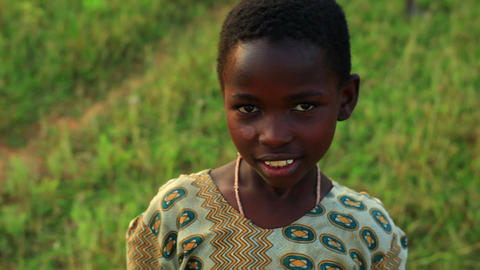 Little Kenyan girl looking at the camera Footage