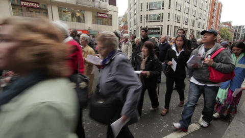 LONDON - OCTOBER 8: Unidentified people at a religious parade on October 8, 2011 Footage