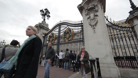LONDON - OCTOBER 8: The front gates of Buckingham Palace on October 8, 2011 in L Footage