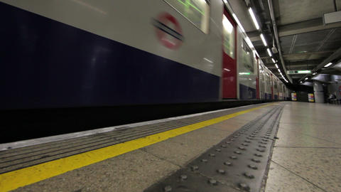 Passengers exit train in London Footage