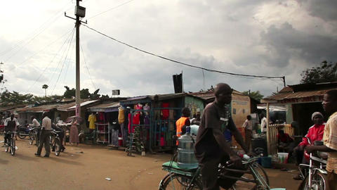 Shot of city traffic including bikes and pedestrians. Shot in Kenya, Africa Live Action
