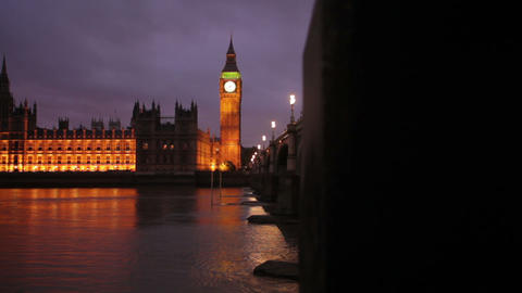 Big Ben and Westminster in the evening in London Footage