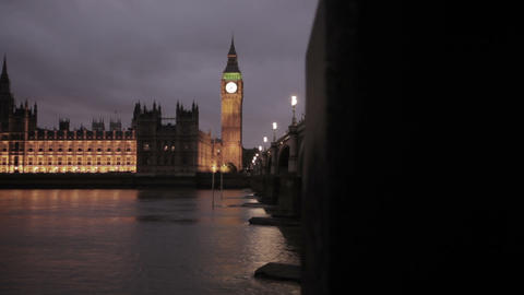 Evening shot of Big Ben and Westminster in London, England Footage