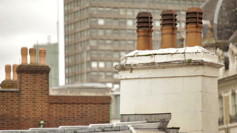 Chimney on top of building in London, England Footage