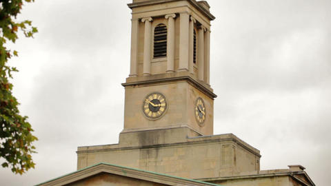 Downward panning view of the steeple of a church in London, England Footage