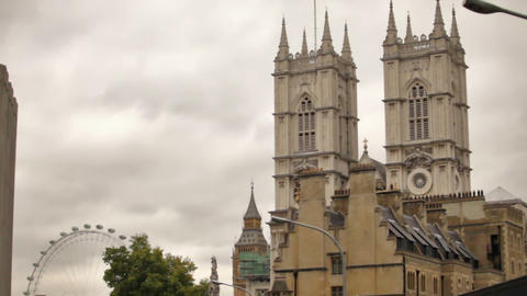 Moving shot of Westminster Abbey towers Footage