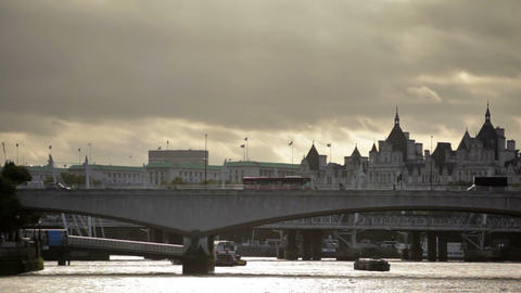 Distant view of Waterloo bridge from Thames River in London, England Footage