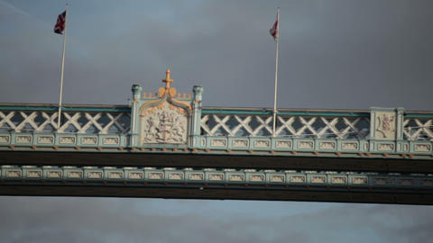 Panning view of the top left tower on Tower Bridge, pans to the right, located i Footage