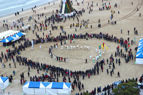 JeongwolDaeboruem the Lunar New Year's Eve event in Gwangalli Beach, Busan, Photo