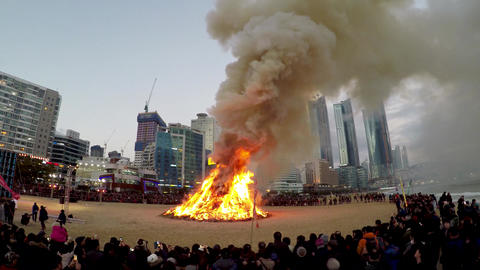 Jeongwol Daeboruem the Lunar New Year's Eve event in Haeundae Beach, Busan, Footage