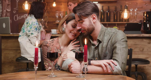 A romantic, happy couple showing their love, kissing and... Stock Video Footage