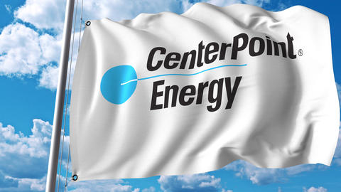 Waving flag with CenterPoint Energy logo. 4K editorial animation Footage