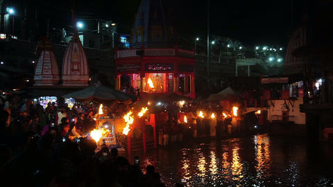 Hindu devotees praying to River Ganga - Ganga Aarti GIF