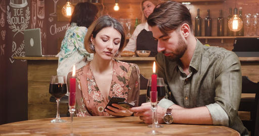 Couple addicted to social media while on a date Live Action