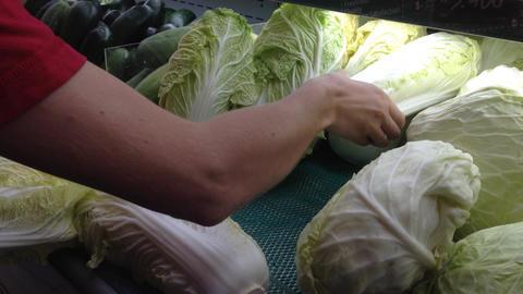 female buy vegetables Stock Video Footage
