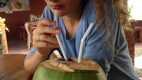 female drink coconut water Footage