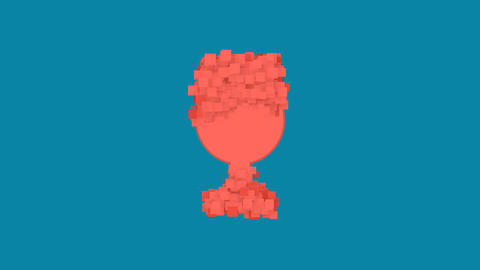 Behind the squares appears the symbol wine glass. In - Out. Alpha channel Animation