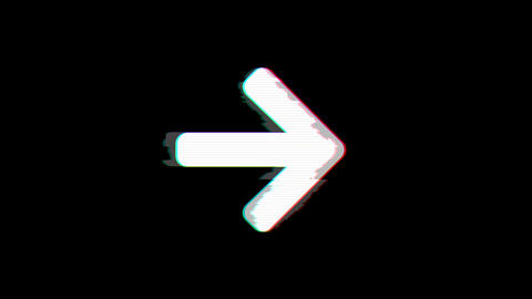 From the Glitch effect arises arrow right symbol. Then the TV turns off. Alpha Animation
