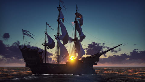 Large medieval ship on the sea on a sunrise. The old medieval ship gracefully Animation