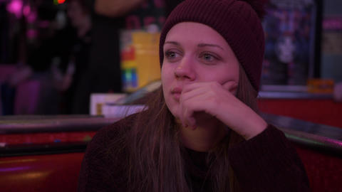 Young woman in an American Diner Live Action