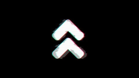 From the Glitch effect arises angle double up symbol. Then the TV turns off. Animation