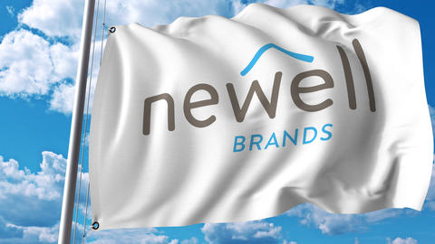 Waving flag with Newell Brands logo. 4K editorial animation Live Action