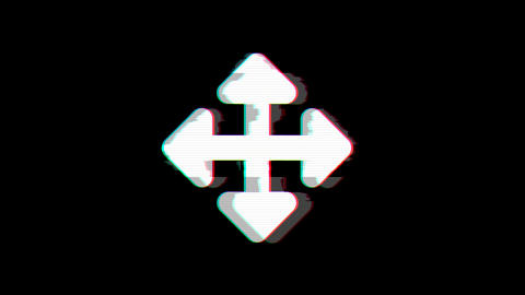 From the Glitch effect arises arrows up down, right left symbol. Then the TV Animation