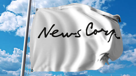 Waving flag with News Corp logo. 4K editorial animation Footage
