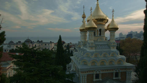 Temple in Yalta at sunset Live Action