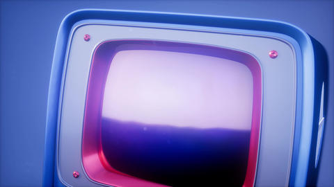 retro tv on blue sky background with light Footage