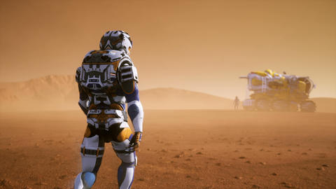 Astronaut walks on the surface of Mars to the Rover, through a dust storm Animation