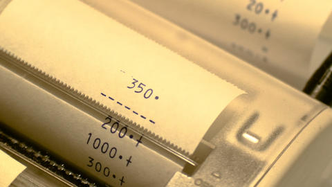 antique led calculator detail with ribbon paper, footage to represent business Footage
