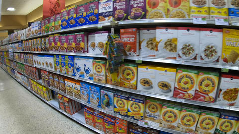 Breakfast Food Cereals Snacks Cookies On American Supermarket Store Shelves Footage