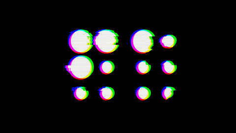 From the Glitch effect arises braille symbol. Then the TV turns off. Alpha Animation
