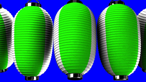 Green and white paper lanterns on blue chroma key CG動画
