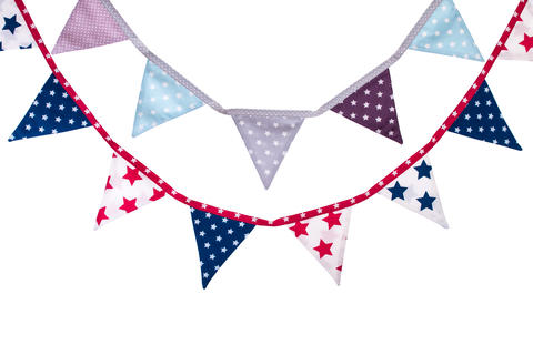 Party triangle bunting flags hanging on the rope Fotografía
