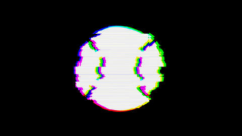 From the Glitch effect arises baseball ball symbol. Then the TV turns off. Alpha Animation