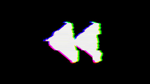 From the Glitch effect arises backward symbol. Then the TV turns off. Alpha Animation