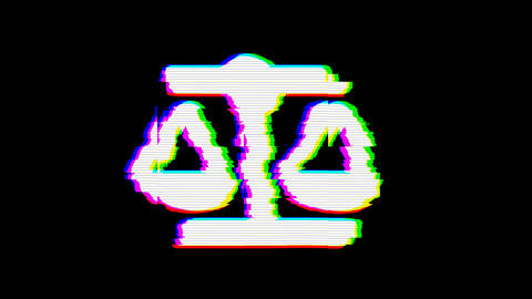 From the Glitch effect arises balance scale symbol. Then the TV turns off. Alpha Animation
