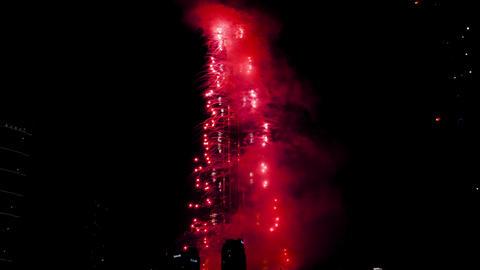 Fireworks on Burj Khalifa building Footage