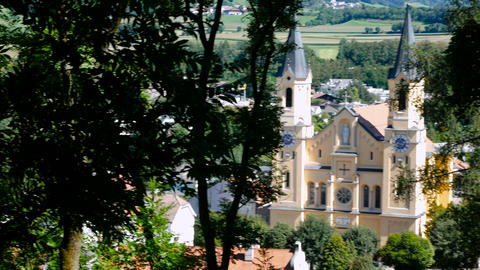 view on the main church of Brunico, summer period in the Alto Adige area Footage